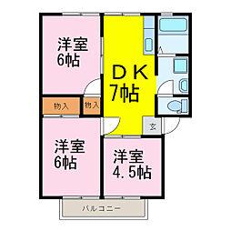 カヨウドウハイツII[2階]の間取り
