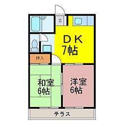 秋山ハイツ女沼II[103号室]の間取り
