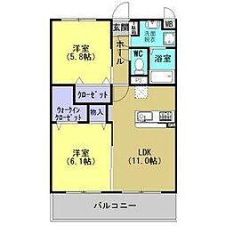 JR東北本線 古河駅 4.8kmの賃貸マンション 2階2LDKの間取り