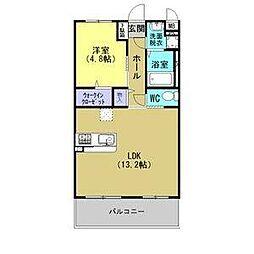 JR東北本線 古河駅 4.8kmの賃貸マンション 2階1LDKの間取り