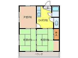 吉田アパートD[2階]の間取り