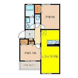 アスカB棟[2階]の間取り