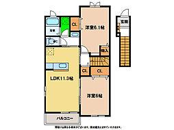 ロイヤル オークB[2階]の間取り