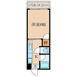 オリンピアマンション 1階1Kの間取り