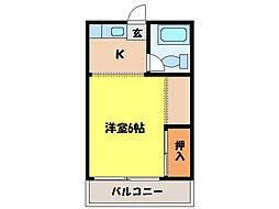 コーポラス西の京[2階]の間取り