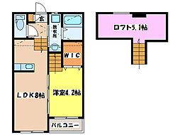 RESIDENCE NISHIHARA I、II[A201号室]の間取り