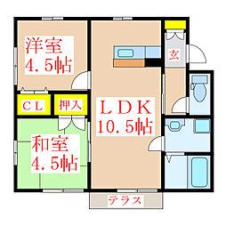 川越貸家(松永) 1階2LDKの間取り