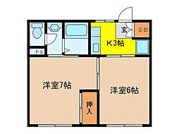 松山荘[15号室]の間取り
