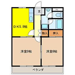 ヴィーブルTASHIRO[1階]の間取り