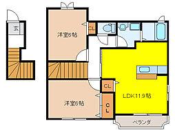 プロムナード2番館[2階]の間取り
