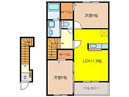 グラート B[2階]の間取り