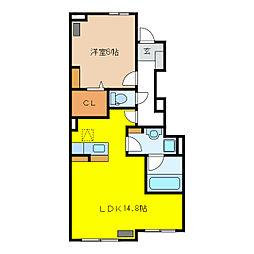 サニーホームIII B[1階]の間取り