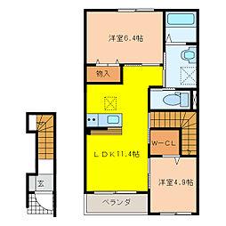 萱場K様新築アパートA棟[2階]の間取り