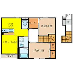 萱場K様新築アパートB棟[2階]の間取り