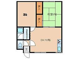 北海道函館市花園町の賃貸アパートの間取り