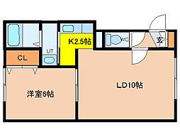 北海道函館市湯川町1丁目の賃貸アパートの間取り