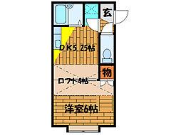 北海道函館市千歳町の賃貸アパートの間取り