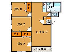 北海道函館市本通2丁目の賃貸マンションの間取り