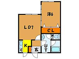 北海道函館市湯浜町の賃貸アパートの間取り