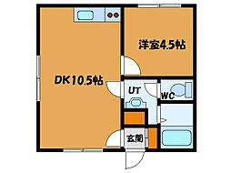 北海道函館市栄町の賃貸アパートの間取り