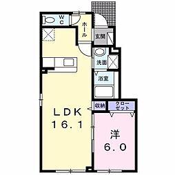 北海道函館市大縄町の賃貸アパートの間取り