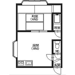 北海道函館市新川町の賃貸アパートの間取り