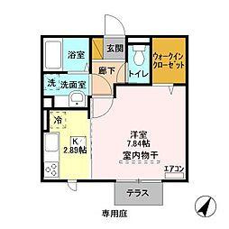 JR内房線 袖ヶ浦駅 徒歩8分の賃貸アパート 1階1Kの間取り