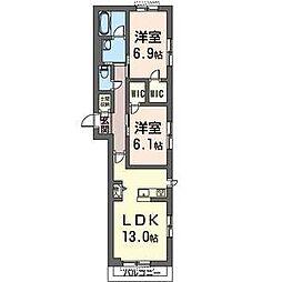 JR内房線 八幡宿駅 徒歩7分の賃貸マンション 2階2LDKの間取り