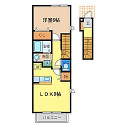 Villa鶴島B[2階]の間取り