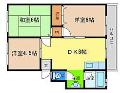橋川マンション1[3階]の間取り