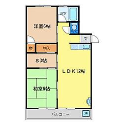 浜田コーポ西須賀[1階]の間取り