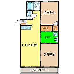 浜田コーポ西須賀[2階]の間取り