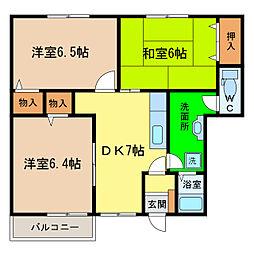 ハッピースクエア—II[1階]の間取り