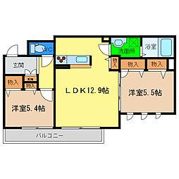 ベレオ中島田[3階]の間取り