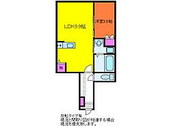 ベル・ヴェール田中町 B棟[1階]の間取り