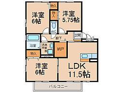 ロイヤルガーデン北屋敷II[2階]の間取り