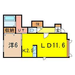 ボックス南D[1階]の間取り