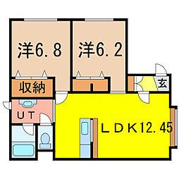 アルトIII 1階2LDKの間取り