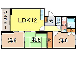東光8.4プラザ[3階]の間取り