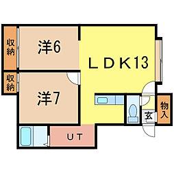 ユーチャリスD[2階]の間取り