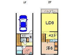 A.M.S(8-24) 1階1LDKの間取り