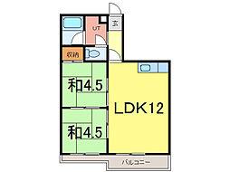 ウインザー8・8 6階2LDKの間取り