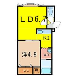 ノヴェル4・1 B[1階]の間取り