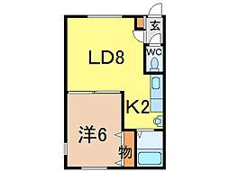 シンフォニーミキA館 1階1LDKの間取り