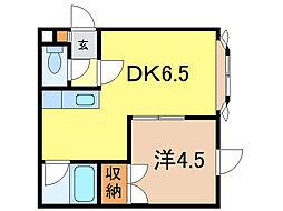 ウィーブ 2階1DKの間取り