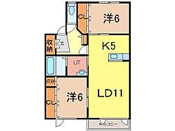 グランビュー5.4A[1階]の間取り
