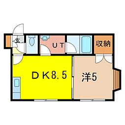 ウエストE 2階1DKの間取り