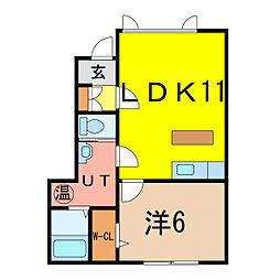 リバーサイド8条西[1階]の間取り