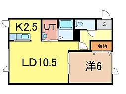 パープル410[3階]の間取り