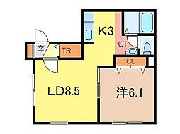 ヴィラウシュペット[2階]の間取り
